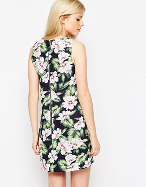 photo Dress In Tropical Floral Print by Style London, color Blue - Image 2