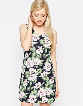 photo Dress In Tropical Floral Print by Style London, color Blue - Image 1