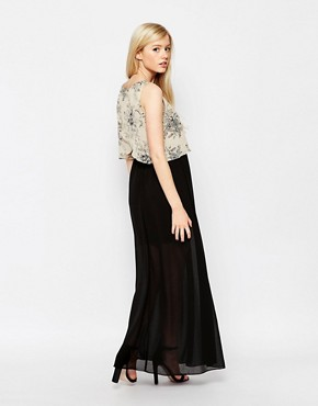 photo Maxi Dress with Printed Overlay Top by Style London, color Cream - Image 2