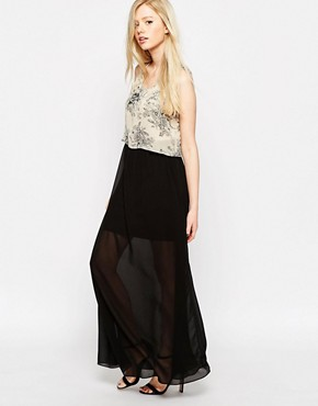 photo Maxi Dress with Printed Overlay Top by Style London, color Cream - Image 1