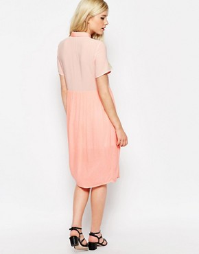 photo Midi Shirt Dress with Sheer Insert by Style London, color Pastel Pink - Image 2