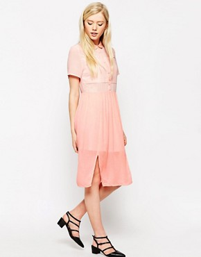 photo Midi Shirt Dress with Sheer Insert by Style London, color Pastel Pink - Image 1