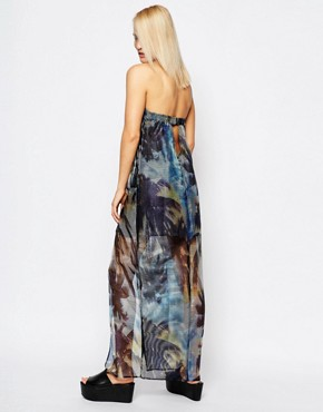 photo Palm Print Strapless Sheer Maxi Dress by Suboo, color Multi - Image 2