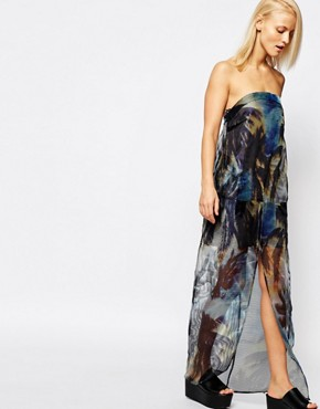 photo Palm Print Strapless Sheer Maxi Dress by Suboo, color Multi - Image 1