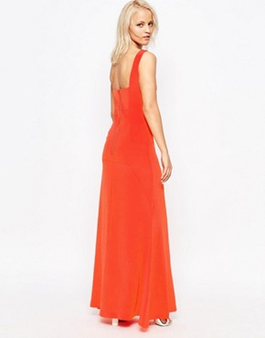 photo Tangerine Silk Double Strap Maxi Dress by Suboo, color Tangerine - Image 2