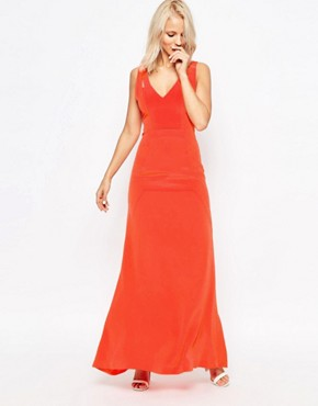 photo Tangerine Silk Double Strap Maxi Dress by Suboo, color Tangerine - Image 1