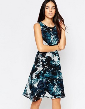 photo Livvy Skater Dress In Icey Print by Sugarhill Boutique, color Teal - Image 1