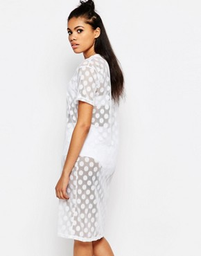 photo Mesh Spot T-shirt Dress by The Ragged Priest, color White - Image 2