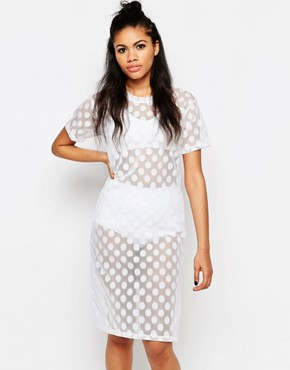 photo Mesh Spot T-shirt Dress by The Ragged Priest, color White - Image 1