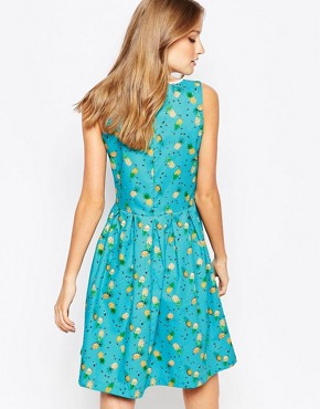 photo Catch a Glimpse Dress by Trollied Dolly, color Turquoise Pineapple - Image 2