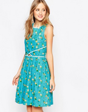 photo Catch a Glimpse Dress by Trollied Dolly, color Turquoise Pineapple - Image 1