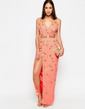 photo Cookie Maxi Dress with Split by Virgos Lounge, color Peach - Image 1