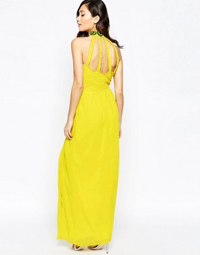 photo Virgo's Lounge Isabelli High Neck Maxi Dress with Cut-Out Details, color Yellow - Image 2