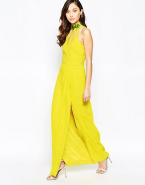 photo Virgo's Lounge Isabelli High Neck Maxi Dress with Cut-Out Details, color Yellow - Image 1