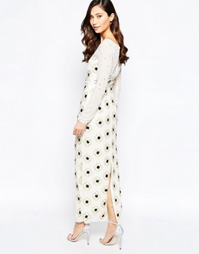 photo Virgo's Lounge Nadia Maxi Dress with Floral Embellishment, color White - Image 2