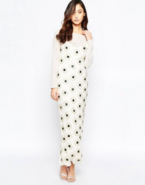 photo Virgo's Lounge Nadia Maxi Dress with Floral Embellishment, color White - Image 1