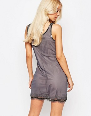 photo Dolly Beaded Mini Dress by Walter Baker, color Grey Gunmetal - Image 2
