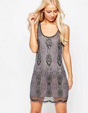 photo Dolly Beaded Mini Dress by Walter Baker, color Grey Gunmetal - Image 1