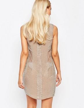 photo Toni Sheer Panel Beaded Dress by Walter Baker, color Taupe Grey - Image 2