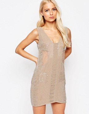 photo Toni Sheer Panel Beaded Dress by Walter Baker, color Taupe Grey - Image 1