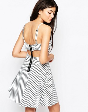 photo In Love Skater Dress In Stripe with Cut Outs by WYLDR, color Multi - Image 2