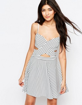 photo In Love Skater Dress In Stripe with Cut Outs by WYLDR, color Multi - Image 1