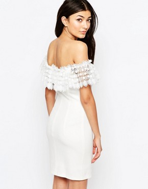 photo Mailey Bardot Dress with Lace Frill by WYLDR, color Ivory - Image 2