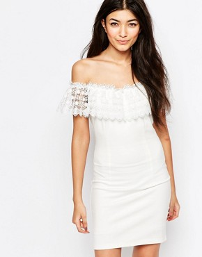photo Mailey Bardot Dress with Lace Frill by WYLDR, color Ivory - Image 1
