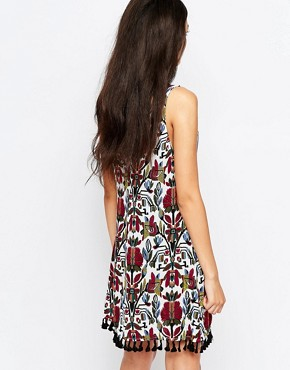 photo Sardia Printed Dress with Pom Poms Hem by WYLDR, color Multi - Image 2