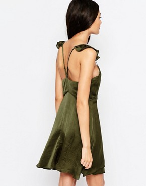 photo Spoken Thoughts Wrap Dress with Frill Straps by WYLDR, color Green - Image 2