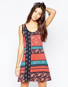 photo Bandana Print Skater Dress by Your Eyes Lie, color Multi - Image 1