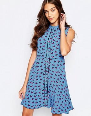 Bird Print Skater Dress By Yumi Blue