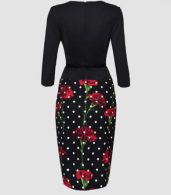 photo Appealing Floral Printed Polka Dot Fake Two-piece Bodycon Dress by FashionMia, color Black - Image 2