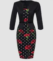 photo Appealing Floral Printed Polka Dot Fake Two-piece Bodycon Dress by FashionMia, color Black - Image 1