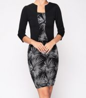 photo Chic Square Neck Printed Fake Two Piece Bodycon Dress by FashionMia, color Black - Image 1