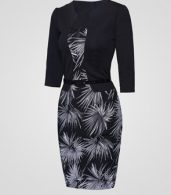 photo Chic Square Neck Printed Fake Two Piece Bodycon Dress by FashionMia, color Black - Image 3