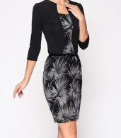 photo Chic Square Neck Printed Fake Two Piece Bodycon Dress by FashionMia, color Black - Image 5