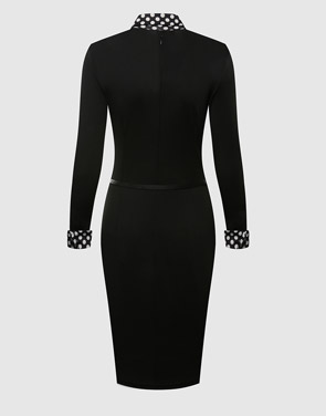 photo Plain Polka Dot Charming Lapel Bodycon Dress by FashionMia, color Black - Image 2