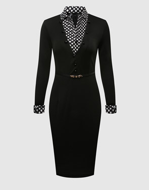 photo Plain Polka Dot Charming Lapel Bodycon Dress by FashionMia, color Black - Image 1