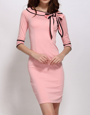 photo Color Block Bowknot Boat Neck Bodycon Dress by FashionMia - Image 2