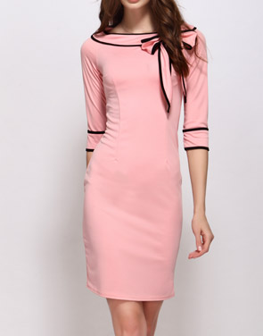 photo Color Block Bowknot Boat Neck Bodycon Dress by FashionMia - Image 1