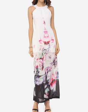 photo Floral Printed Delightful Crew Neck Maxi Dress by FashionMia, color White - Image 2