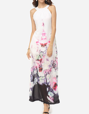 photo Floral Printed Delightful Crew Neck Maxi Dress by FashionMia, color White - Image 1