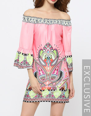 photo Pink Floral Printed Charming Off Shoulder Shift Dress by FashionMia, color Pink - Image 1