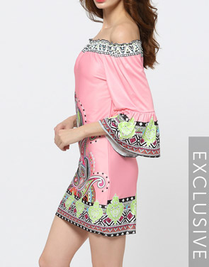 photo Pink Floral Printed Charming Off Shoulder Shift Dress by FashionMia, color Pink - Image 2