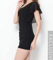 photo Plain Falbala Paillette Designed Asymmetric Neckline Bodycon Dress by FashionMia - Image 3