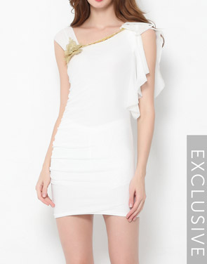 photo Plain Falbala Paillette Designed Asymmetric Neckline Bodycon Dress by FashionMia - Image 5
