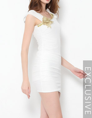photo Plain Falbala Paillette Designed Asymmetric Neckline Bodycon Dress by FashionMia - Image 6
