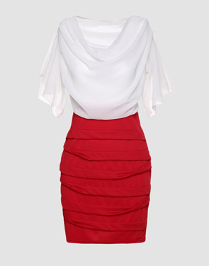 photo Color Block Falbala Round Neck Bodycon Dress by FashionMia - Image 1