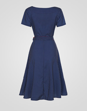 photo Polka Dot Bowknot Exquisite Round Neck Skater Dress by FashionMia, color Blue - Image 2